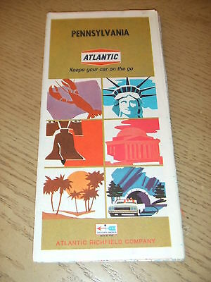 VINTAGE 1968 Atlantic Richfield Oil Gas Pennsylvania State Highway Road Map PA