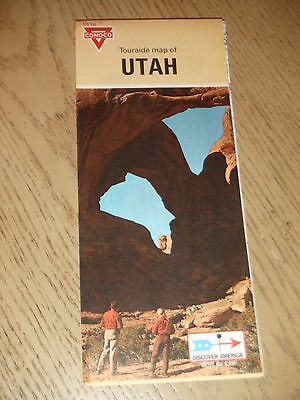 VINTAGE 1970 Conoco Oil Gas Utah State Highway Road Map Touraide Bryce Zion Salt