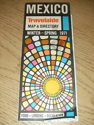 VINTAGE 1971 Travelaide MEXICO Map Guide Food Sights Hotel Directory Acapulco DF