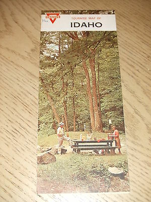 VINTAGE 1966 Conoco Oil Gas Idaho State Highway Road Map Touraide Pocatello ID