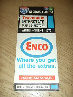 VINTAGE 1970 Enco Humble Oil Travelaide Georgia Florida Map Guide Directory FL