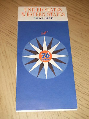 VINTAGE 1963 Union 76 Oil Gas Western United States Highway Road Map Alaska HI