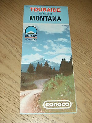 VINTAGE 1972 Conoco Gas Oil Montana State Highway Road Map Touraide Guide Butte