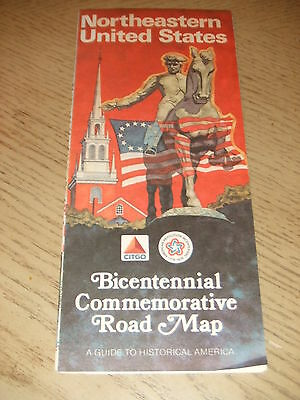 RARE 1976 Citgo Oil Gas Bicentennial Northeastern United States Highway Road Map
