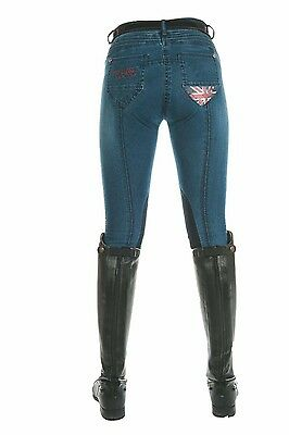 HKM PRO TEAM Denim Breeches Union Jack Global Team Knee Patch