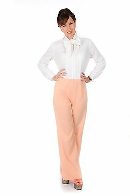 Beautiful vintage 70s peach & white pussy bow jumpsuit
