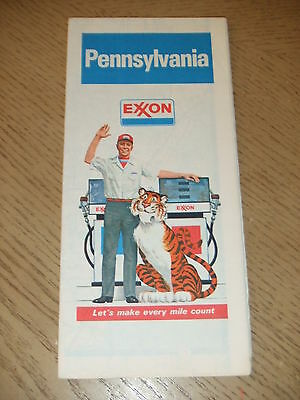 VINTAGE 1981 Exxon Oil Gas Pennsylvania State Highway Road Map Pittsburgh Tiger
