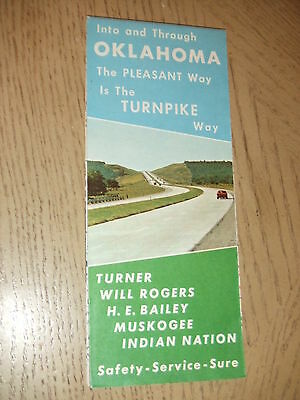 VINTAGE 1970 OFFICIAL Oklahoma State Highway TURNPIKE Map Bailey Rogers Muskogee