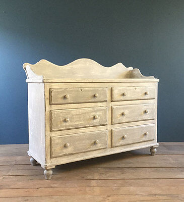 Large Vintage French Antique Pine Chest Drawers Shop Storage Baby Table Cabinet