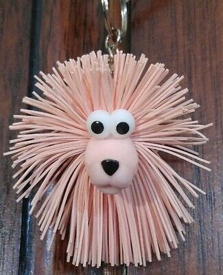 Pink Poodle Dog Keychain Toy with Koosh ball type hair