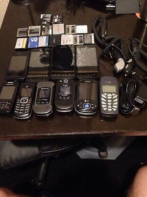 Wholesale Lot Of 10 Smart Phones/ Cell Phones, 15 Cell Phone Batteries, 4 Charge