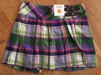New with Tags Girls Gymboree Purple & Pink Plaid Skort Size 7