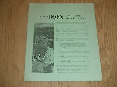 VINTAGE 1968 Guide to Utah State National Camp & Picnic Areas Tourist Booklet UT