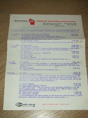 VINTAGE 1966 AAA Wisconsin Daily Itinerary Circle Tour of Florida on Letterhead