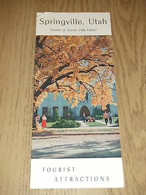 RARE 1960s Springville Utah COC Tourist Attractions Brochure UT Valley Center