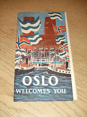RARE 1930s Oslo Norway Welcomes You Tourist Street Map Brochure ADS ESSO Gas Oil
