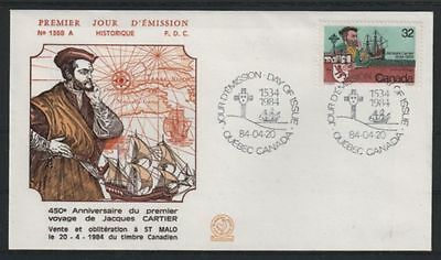 FRANCE FDC - 2307a 3 JACQUES CARTIER - QUEBEC 20 Avril 1984 - LUXE sur soie