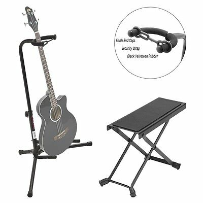On Stage Black Tripod Guitar Single Stand + On Stage Guitar Foot Rest