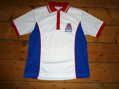 medium ENGLAND BOWLS (lawn bowling) White Shirt With National Club Logo