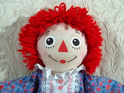 2003 Hasbro - Raggedy Ann Doll Plush Pink Valentine Hearts by Johnny Gruelle 16""