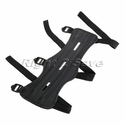 Elastic 3 Strap Shooting Archery Arm Guard Black Cow Leather Wrist Protector New