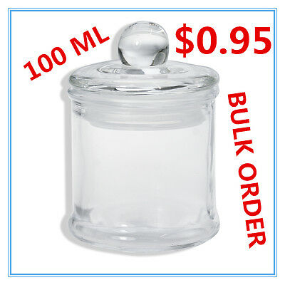 Glass Apothecary Candy Jar with Lid for Candy Candle Waxing Mini 100ml