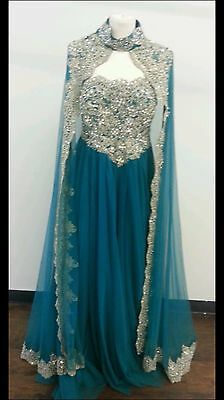Dubai Abaya Kaftan Evening Dresses With Cape Beads Appliques Formal Party Gowns