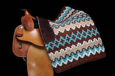 """Show Pro Deluxe Western Show Blanket Oversize 100% NZ Brown Turquoise 38"""" x 34"""""""