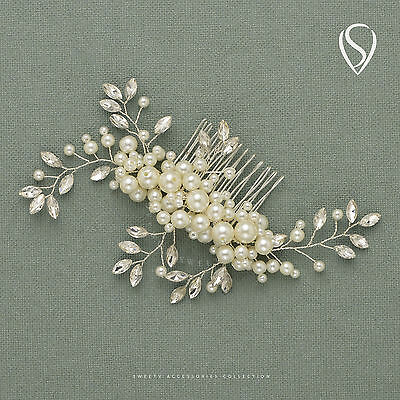 SWEETV Ivory Pearl Rhinestone Wedding Hair Comb Clip Handmade Bridal Headpiece