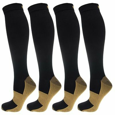 (4 Pairs) Copper Compression Support Socks 20-30mmHg Miracle Calf Men's Women's