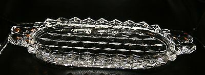 Vintage Collectible Elegant Glass Fostoria American Tray for Sugar and Creamer !