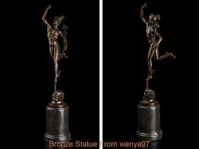 Art Deco Sculpture Greek Mythology God Of Messager Hermes Bronze Statue