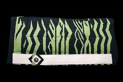 Lariat Wild Side Western Layered Saddle Pad Lime Zebra FREE SHIPPING!