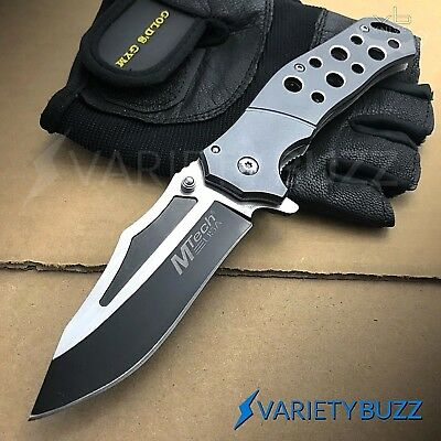 MTECH USA GREY SPRING ASSISTED TACTICAL FOLDING POCKET KNIFE Assist Open GRAY