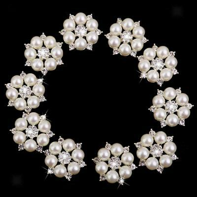 10pcs Pearl Crystal Buttons DIY Flatback Buttons Wedding Embellishment Decor