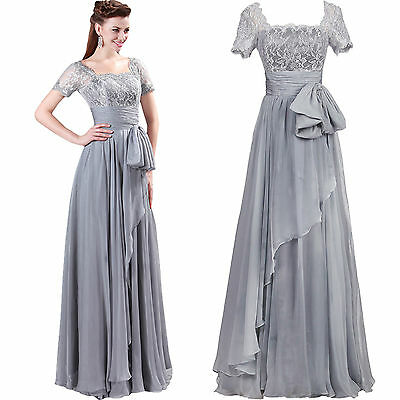 Long Lace Chiffon Evening Party Ball Prom Gown Formal Bridesmaid Cocktail Dress