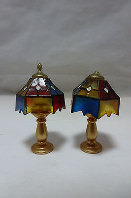 Vintage Dollhouse Miniature Tiffany Style Table Lamps