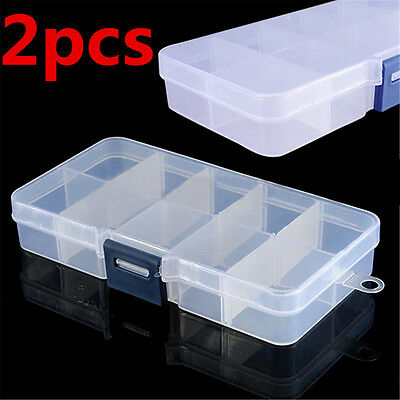 2pcs Adjustable 10 Compartments Plastic Box Fishing Tackle Box For Fishing Lure
