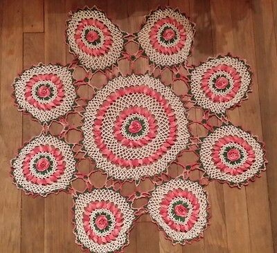 Vintage Large Pink Variegated Rose Cotton Doilie Hand Made Free Shipping
