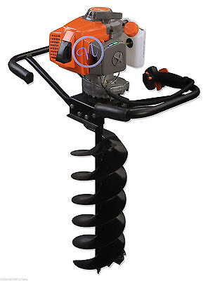 2 Man Earth Auger, Garden Drill, Post Borer With 4 Bits (100, 150, 200 & 250mm)