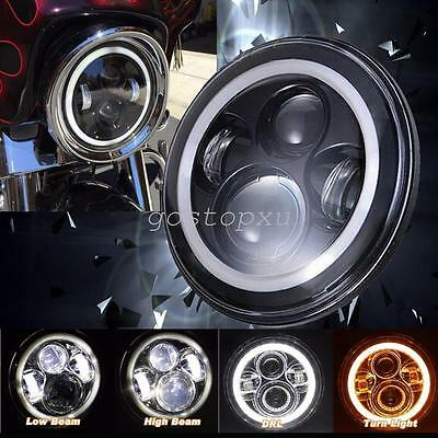 "7"" Halo Angle Eyes Motorcycle Projector Daymaker Headlight For Harley Davidson"