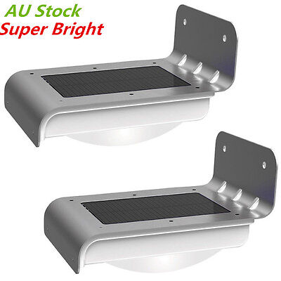 2PCS Solar Power Fence Wall Lights LED PIR Motion Sensor Outdoor Garden Bright