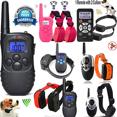 2018 Dog Training Shock Vibra Collar w/LCD Remote Control For S/M/L 1-2 Pet Dog