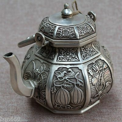 Old China White Brass Carving Bird Fish Flower Pattern Wine pot Teapot Statue