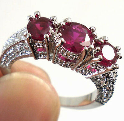 Women Fashion 925 Sterling Silver Ruby Ring Wedding Engagement Jewelry Size 6-10