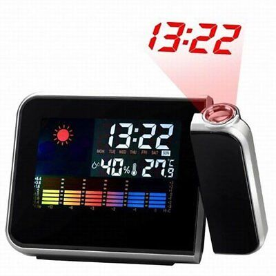 Digital LCD LED Time Projector Snooze Colorful Alarm Clock Weather Temperature