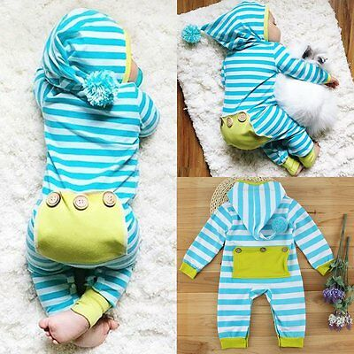 Newborn Infant Baby Boys Girls Romper Bodysuit Jumpsuit Outfits Striped Clothing