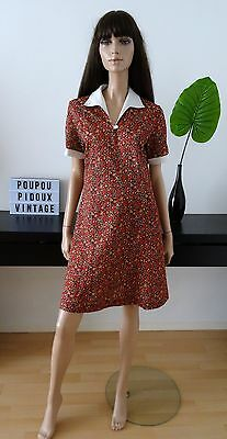 Robe vintage imprimé fleuri marron rouge/rose/beige taille 40 / uk 12 / us 8