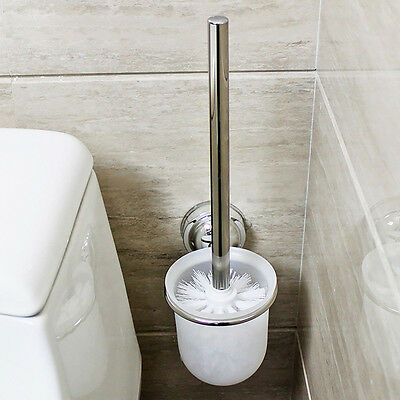 Chrome Round Wall Mounted Toilet Bathroom Brush & Frosted Glass Brush Holder Set