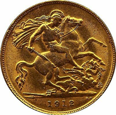 1912 Gold Half Sovereign George V London mint EF